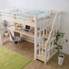 Nordic loft bed made of natural wood on extra large columns! Due to the staircase type, pay attentio Bed For Girls Room, Small Room Bedroom, Kids Bedroom, Small Rooms, Bunk Bed Decor, Bunk Bed Rooms, Bunk Beds, Bedrooms, Loft Beds