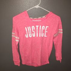Justice Other - Girls size 10 Justice logo hooded top Hooded Justice, Justice Logo, Girl Toddler, Hoods, Long Sleeve Tees, Size 10, Graphic Sweatshirt, Stripes, Sweatshirts