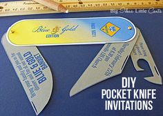 Simple DIY pocket knife invitations free printable! Perfect for a Father's Day card or Handy Man birthday card.