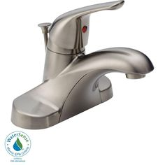 Delta Foundations 4 in. Centerset Single-Handle Bathroom Faucet with Metal Drain Assembly in Stainless - B510LF-SSPPU-ECO - The Home Depot