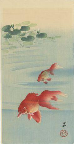KOSON Japanese Woodblock Print GOLDFISH 1910s in Antiques, Asian Antiques, Japan, Prints | eBay