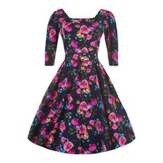 Lady V London Alice Amethyst Rose Retro šaty ve stylu 50. let. Dokonalé šaty pro romantické dámy, které se nebojí vyniknout a zazářit všude tam, kam v tomto jedinečném modelu z limitované edice londýnské módní dílny přijdou. Nádherný potisk čajových růží na tmavě modrém podkladu, lehce nabíraná sukně, výstřih zajímavě a netypicky řešený do hranatého tvaru, vázačka v pase, zapínaní na skrytý zip v zadní části, příjemný pružný materiál (97% bavlna, 3% elastan) - to vše zajistí, že vám dokonale…