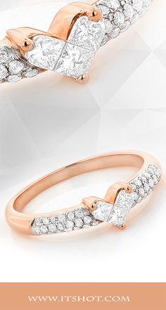14K Gold Round & Princess Cut Diamond Heart Ring .56ct