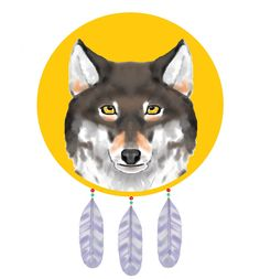 Wolf dreamcatcher digital artwork created by Crystella Poupard