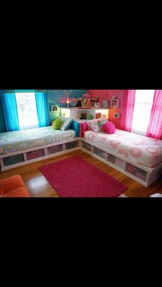 Girls pink and blue bedroom