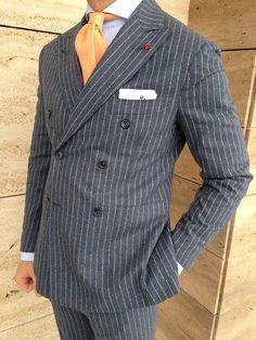 """Mr. Vasic wearing a Viola Milano """"Peach"""" bespoke cashmere tie."""