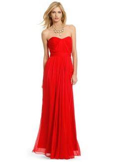 A-Line/Princess Strapless Sweetheart Floor-Length Chiffon Evening Dress With Ruffle