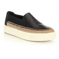 Vince Bates Leather Skate Sneakers (985 SAR) ❤ liked on Polyvore featuring shoes, sneakers, apparel & accessories, black, platform espadrilles, platform shoes, espadrilles shoes, leather platform sneakers and black platform sneakers
