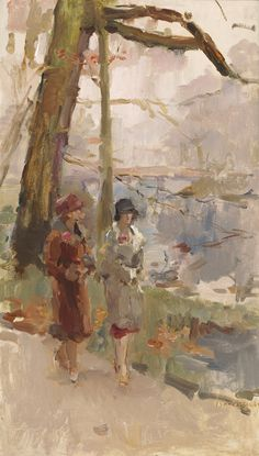 TEFAF Modern, Studio 2000 Art Gallery, Isaac Lazarus Israels (Amsterdam 1865-1934 Den Haag), Promenade (Two walking ladies in The Hague forest), Oil on canvas, 81.5 x 47.5 cm, Signed lower right 'Isaac Israels', The Haque, circa 1918.