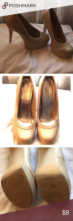 Baby Phat 7.5 tan patent leather snake skin design Selling as is ( scuffs may come out, I can't guarantee anything ). Super sexy and comfortable . Baby Phat Shoes Heels