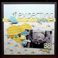 Expecting Ethan scrapbook layout by Sheri Feypel Baby Boy Scrapbook, Scrapbook Bebe, Pregnancy Scrapbook, Baby Scrapbook Pages, Scrapbook Sketches, Scrapbook Page Layouts, Scrapbook Paper Crafts, Scrapbook Cards, Ultrasound Scrapbook