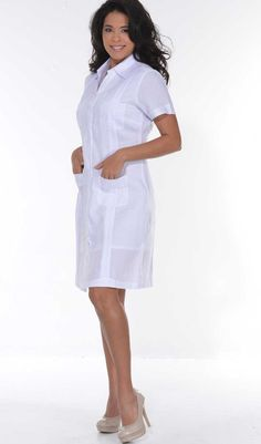 0991bd4085 Ladies Guayabera Dress Short Sleeve. Linen. Cuban Party Guayabera Dress.  White Color