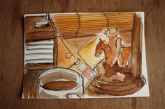 MAKING THE MARROW - Drawings - Artist's Response to Punchdrunk's The Drowned Man   #watercolour #ink #cowboy #coffee #radio