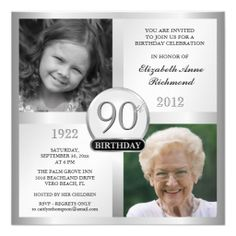 90th birthday party invitations with photo | Silver 90th Birthday Invitations Then & Now Photos - Zazzle.com.au