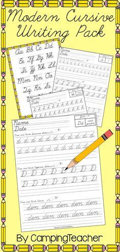 Modern Cursive Writing Pack - Handwriting Practice for D'Nealian Cursive.