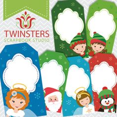 Printable Christmas tags png TW069 by Twinsters on Etsy, $2.50