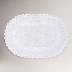 Superb White Oval Crochet Bath Mat