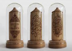 Handmade Cherry Wood Spray Cans by Artists Thibaut Malet x Zics [: