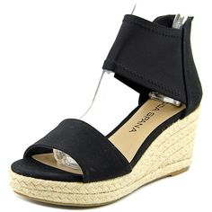 Moda Spana Kacy Women Open Toe Canvas Black Wedge Sandal (150 BRL) ❤ liked on Polyvore featuring shoes, sandals, black, wedge shoes, black canvas shoes, black shoes, canvas wedge sandals and black wedge shoes