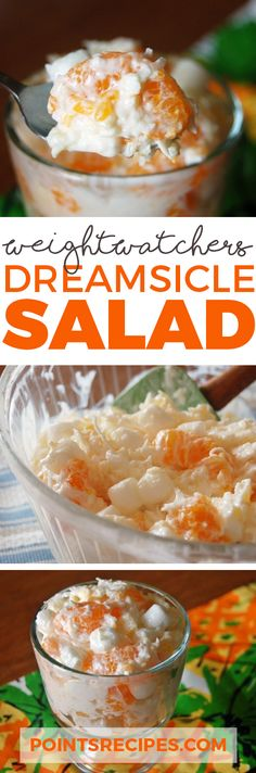 Orange Dreamsicle Salad 1 box instant vanilla pudding, sugar-free 1 can mandarin oranges, drained 1 container fat-free Cool Whip, 8 oz l box sugar free Orange Jello (Weight Watchers Coconut Cake) Weight Watcher Desserts, Weight Watchers Meals, Weigh Watchers, Skinny Recipes, Ww Recipes, Cooking Recipes, Recipies, No Calorie Foods, Low Calorie Recipes