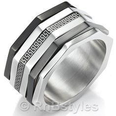 Impressive Mens RnB Stainless Steel Greek Ring Silver 10mm Band | RnBJewellery