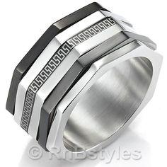 Impressive Mens RnB Stainless Steel Greek Ring Silver 10mm Band | RnBJewellery