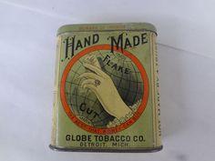 VINTAGE ADVERTISING GLOBE HAND MADE TOBACCO VERTICAL  POCKET  TIN 523-S
