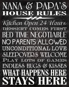 Printable Nana and Papa's House Rules Subway by DesignsbyLindaNee