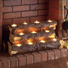 Kirkley tealight fireplace log set in grey unused fireplace, fireplace logs, fireplace candelabra,