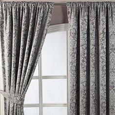 Homescapes Grey Super Luxury Velvet Jacquard Pencil Pleat Lined Curtains Pair Width 45 x 54 Inch Drop. Heavy Weight Thermal Block Out Property. FREE SWATCHES Homescapes http://www.amazon.co.uk/dp/B00T4L7YBE/ref=cm_sw_r_pi_dp_leMrvb0A9DCT1