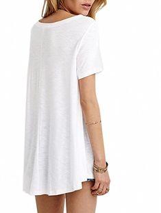 Amazon.com: Afibi Women's Basic Short Sleeve Scoop Neck Swing Tunic Loose T-Shirt (X-Small, Grey): Clothing