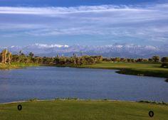 10th hole Royal Palm Golf Course Marrakech, excellent Par 4 with an Atlas Mountain backdrop