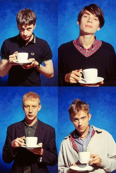 Blur having tea. Alter Ego, Blur Band, Going Blind, Irish Rock, Things To Do With Boys, Damon Albarn, Celebrity Skin, Britpop, Light Of My Life