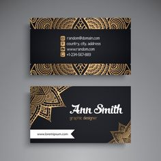 Luxury business card with mandala decoration Free Vector Business Branding, Business Card Logo, Business Card Design, Brochure Design, Branding Design, Mise En Page Web, Creation Web, Event Poster Template, Visiting Card Design