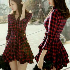 Plaid skater dress Size xxs. Material feels so good and keeps your body warm. SURPRISE ITEM WITH PURCHASE✨✨✨ 4dclothingshop Dresses Mini