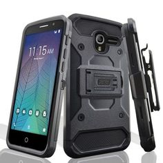 Zizo Tough Armor Cover for Alcatel Stellar/TRU w/ [Heavy Duty Kickstand] Holster Clip and a [Shockproof Dual Layer Case] Strong Protective Slim, Black