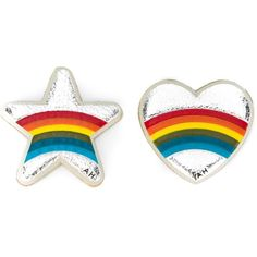 Anya Hindmarch Heart and Star Rainbow Stickers ($46) ❤ liked on Polyvore featuring jewelry, earrings, silver, rainbow jewelry, heart shaped earrings, heart jewellery, multi color jewelry and silver tone earrings