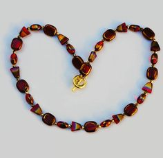 Red Glass Bead Necklace, Red-Gold Bead Necklace, Double Color Bead Necklace, Multi Shaped Bead Necklace, Mother's Day Gift, Women's Jewelry by SunMoonJewels on Etsy