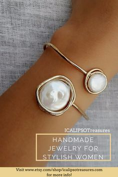 Dainty gold plated cuff perfect for bride, this hard bangle bracelet with pearl is also perfect as Christmas jewelry gift for her, it doesn't matter if she is your friend, girlfriend, sister or for sister in law, who ever will recive it will follow in love with this bracelet. Discover more on etsy