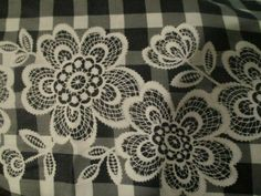 Vintage Fabric 1960's Border Print Black White Gingham Check White Flowers 9 yd #unbranded