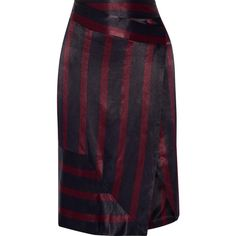 By Malene Birger Jamuli wrap-effect striped washed-satin midi skirt ($280) ❤ liked on Polyvore featuring skirts, midnight blue, satin midi skirt, purple skirt, wraparound skirt, calf length skirts and wrap skirt