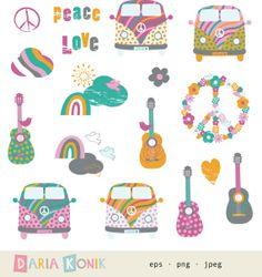 Amor y paz Clip Art Set - verano de amor Imágenes Prediseñadas, VW bus, guitarras, nubes, pájaros, arco iris, signos de paz, eps, png, jpeg