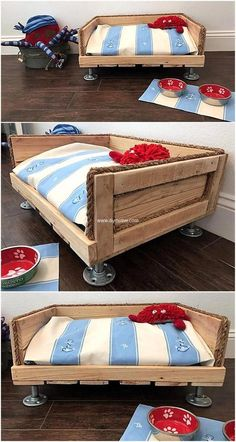 Ideas Pallet pallets wooden dog bed idea - Intro Facing difficulty to enhance the beauty of your place? We are here to provide you some ingenious ideas to reuse wood pallets. Dog Furniture, Handmade Furniture, Pallet Furniture, Office Furniture, Diy Dog Bed, Diy Bed, Dog Bed Frame, Pallet Dog Beds, Ikea Bed