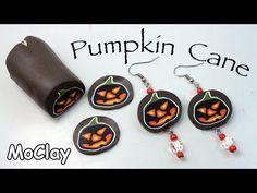 Polymer Clay Pumpkin Cane - Halloween earrings tutorial - YouTube