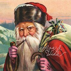 Alpine Santa Digital Download: Old World Santa Claus with a Bag of Gifts Surrounded by Mountain Scenery Vintage Santas, Vintage Christmas, Pink Gloves, Create Invitations, Mirror Image, Christmas Wishes, Collage Sheet, Vintage Paper, Background Patterns