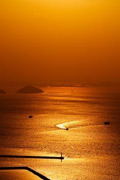 Sunset in Seto Inland Sea, Takamatsu, Kagawa, Japan