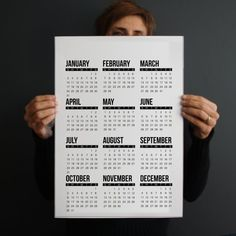 2016 Calendar download. Unique design for a modern home or office. Black and white decoration that can be a nice gift idea for Christmas.