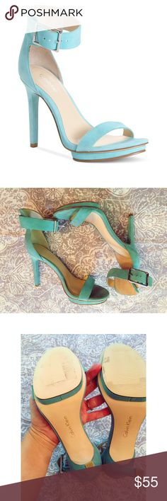 "Calvin Klein Vivian sandal Beautiful teal Calvin Klein Vivian suede sandal. Leather upper; man-made sole. Adjustable ankle strap with silver buckle. 1/2"" covered island platform; 4 inch covered heel. Floor model; never worn outside of store. Slight signs of wear on back heel and toe insole. Calvin Klein Shoes"