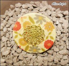 Bague bouton - Liberty chic - filigrane doré : Bague par alice-ayres