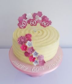 Buttercream Birthday Cake to me Buttercream Cake Designs, Buttercream Birthday Cake, 60th Birthday Cakes, Birthday Cakes For Women, Girl Birthday, Birthday Ideas, Pretty Cakes, Beautiful Cakes, Cake Decorating Techniques